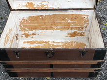 Load image into Gallery viewer, Vintage Wood and Metal Trunk