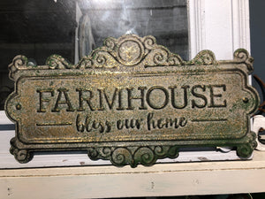 Farmhouse Bless Our Home Sign
