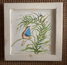 "Load image into Gallery viewer, ""Blue Throat in Ferns"" Framed Original"
