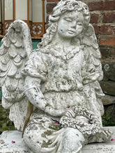 Load image into Gallery viewer, Vintage 1930's Concrete Angel Statue on Bench