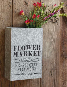 New items  Flower market galvanized wall pocket