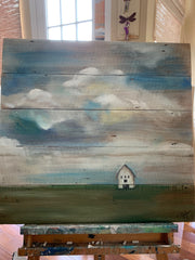 Original Artwork Dreamy Sky on Salvaged Wood