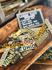 Keychains from vintage license plates