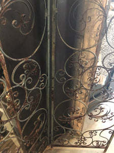 Antique Wrought Iron Folding Screen