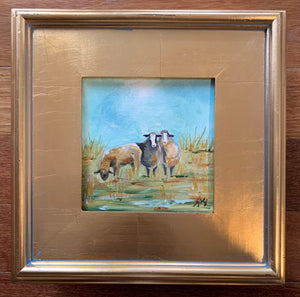 Original Sheep in Gold Plein Air Frame