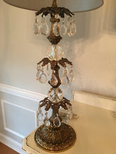 Load image into Gallery viewer, Pair of Stunning Vintage Tall Three Tier Crystal and Heavy Brass Lamps
