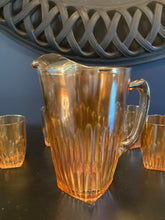 Load image into Gallery viewer, Carnival Glass Pitcher and 6/Glass Set