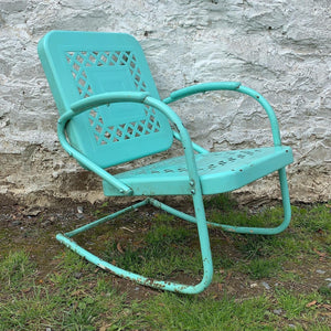 Vintage Spring Chair in Bright Cheerful Turquoise