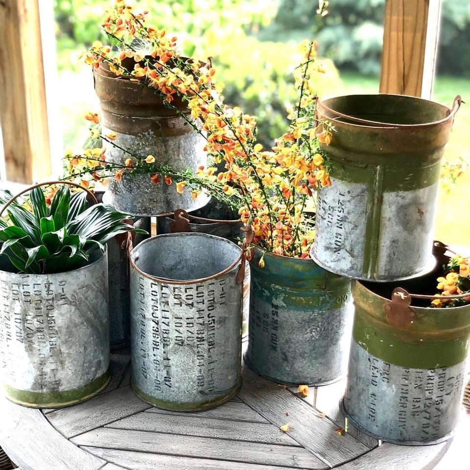 Unique Recycled Ammunition Canisters turned Planters/Containers