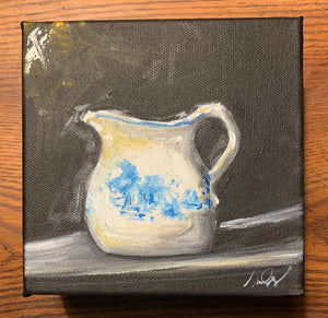Original Small Blue and White Pitcher on Gallery Wrapped Canvas