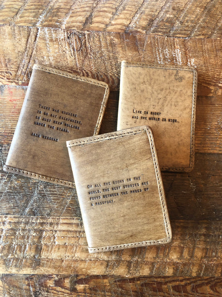 Leather Passport Covers with Quotes