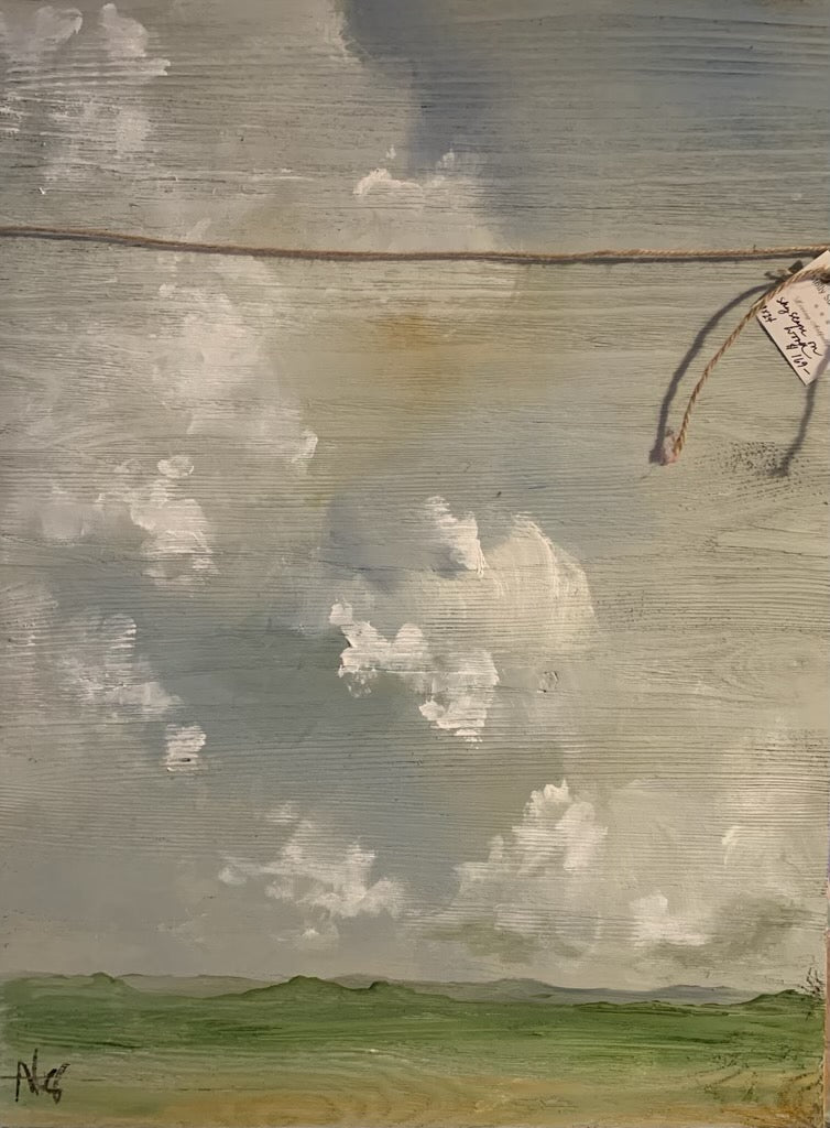 Sky Scape on Wood original Molly Susan Strong Painting