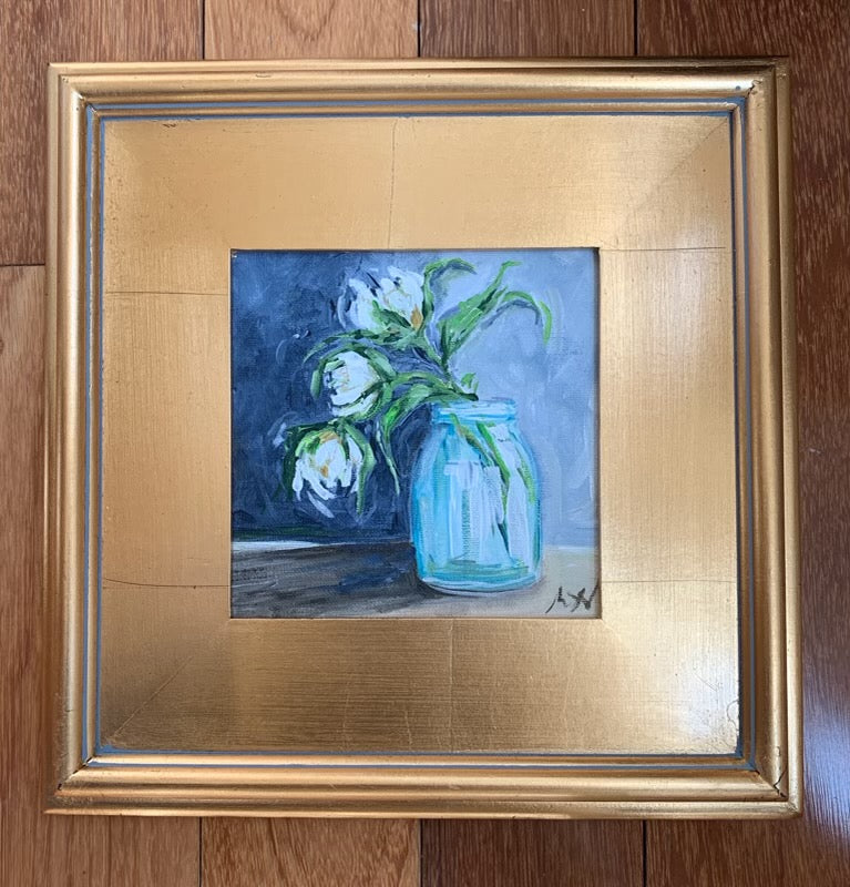 "Original ""Three Peonies"" Plein Air Gold Leaf Frame"