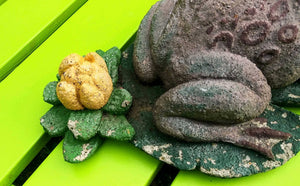 Vintage Concrete Frog on Lily Pad