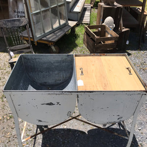 Vintage Double Galvanized Wash tub turned Outdoor Bar