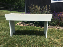 Load image into Gallery viewer, Vintage White Shabby Farm Bench