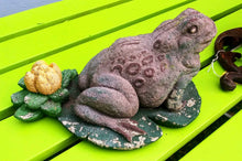 Load image into Gallery viewer, Vintage Concrete Frog on Lily Pad