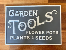 Load image into Gallery viewer, Garden Tools Metal Sign
