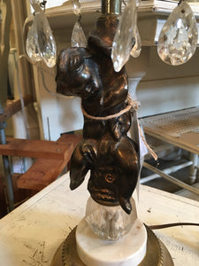 Vintage Cherub Lamp with Crystals