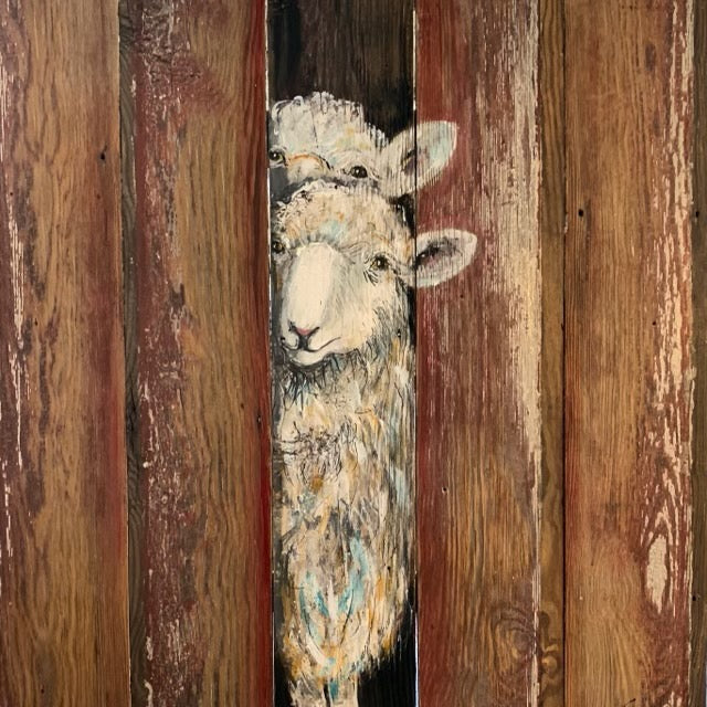 Original hand painted sheep Peaking Out on wood