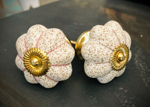 White Knobs with Pink and Gold Accents