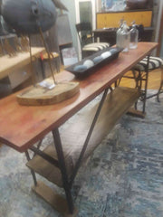Industrial Bar/Counter with Mortise Butcher Block Top