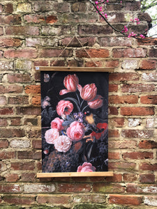 Floral wall hanging, deep black background