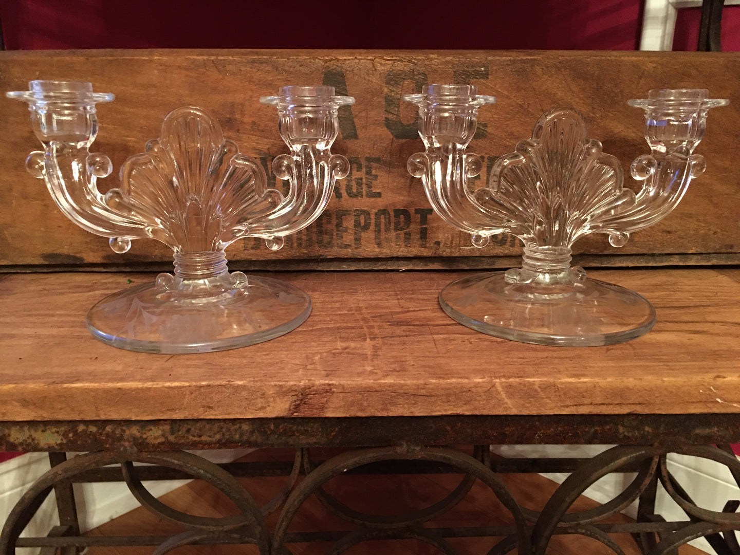Pair of Glass Candleabras