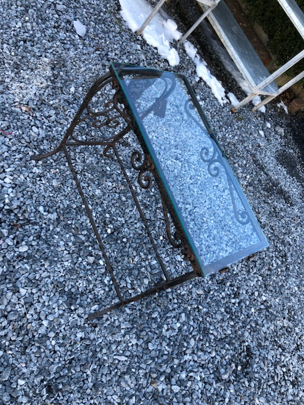 Old Iron Base Table w/Glass Top