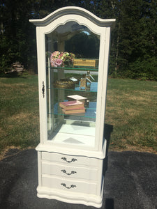 Vintage Lighted French Provincial Display Cabinet