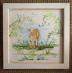 """Calf in Ferns"" Framed Original"