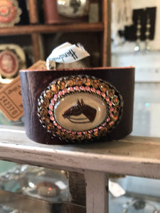 Antique Horse Cabochon Leather Cuff