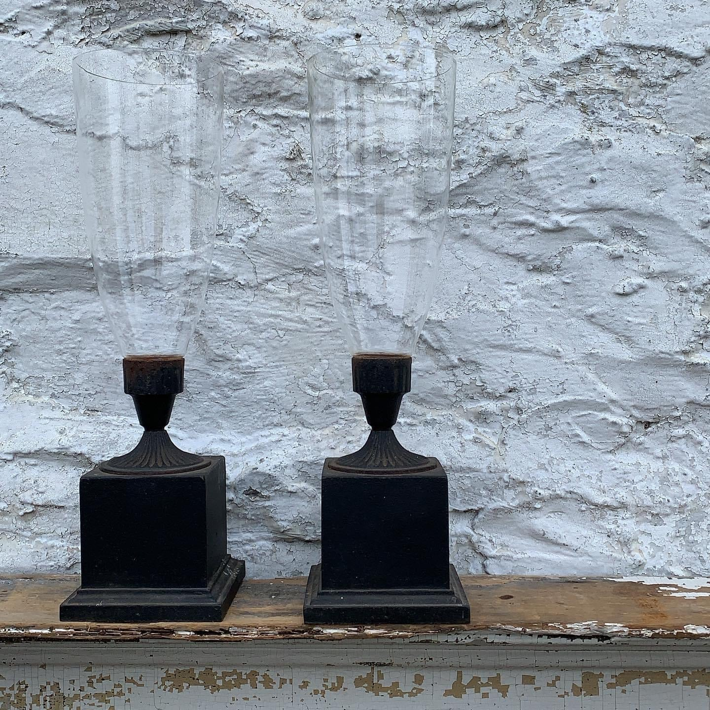 Pair of Genuine Cast Iron Hurricane Candle Holders