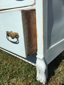 Vintage Oak Painted Carved Chest