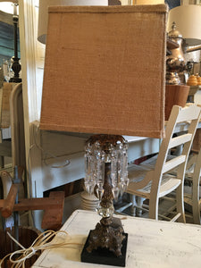 Vintage Brass/Crystal Lamp with Marble Base
