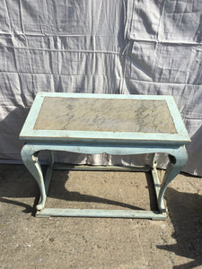 French Blue Console Table w/Marble Insert