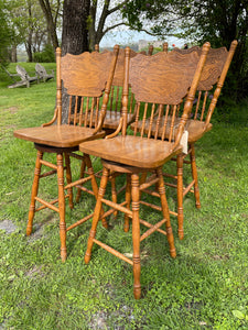 Set of 4 Wooden Bar Stools