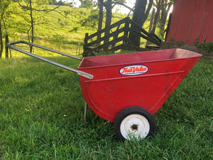 Vintage Red Metal Garden Cart