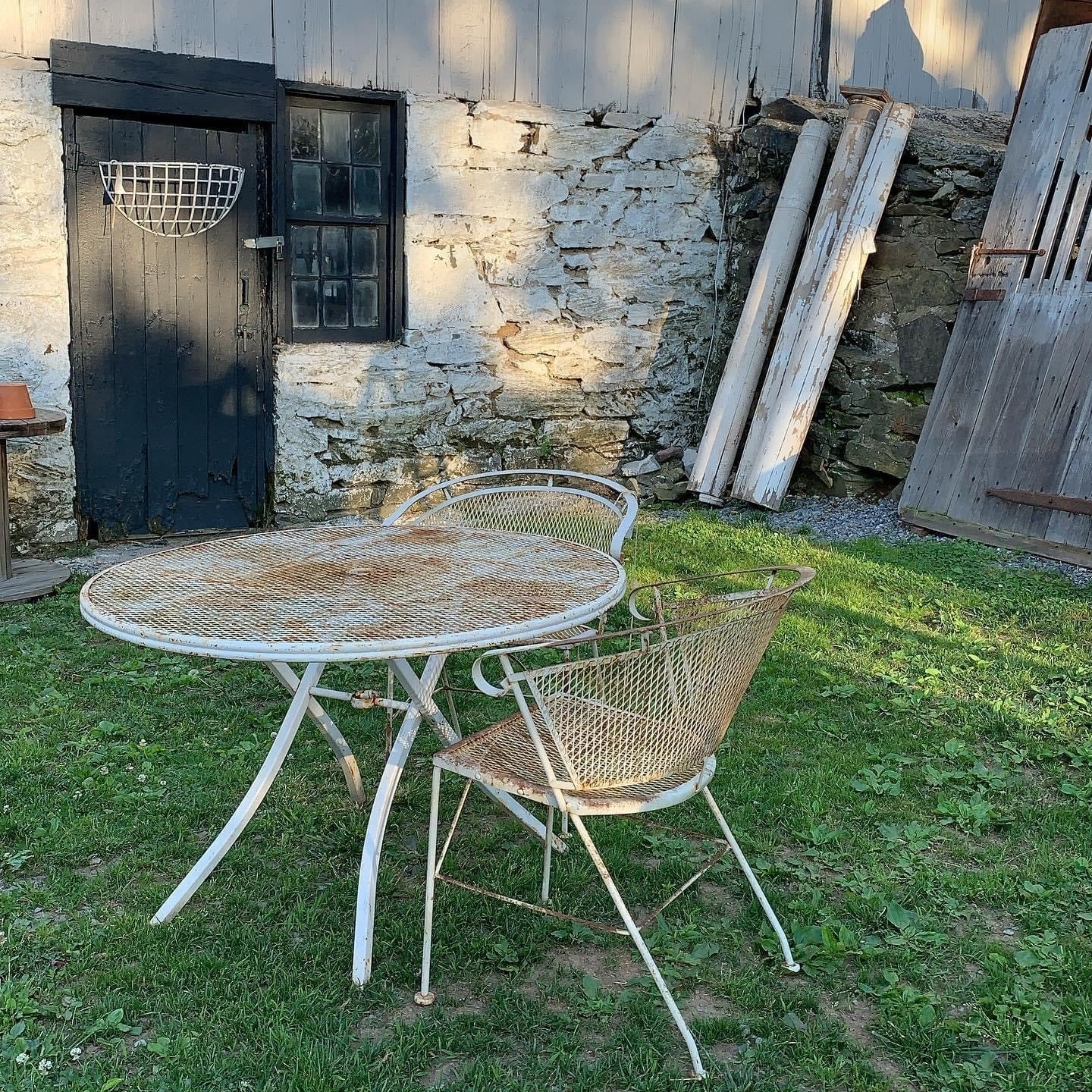 Sweet 3 Piece Fabulous Vintage Iron Outdoor Set