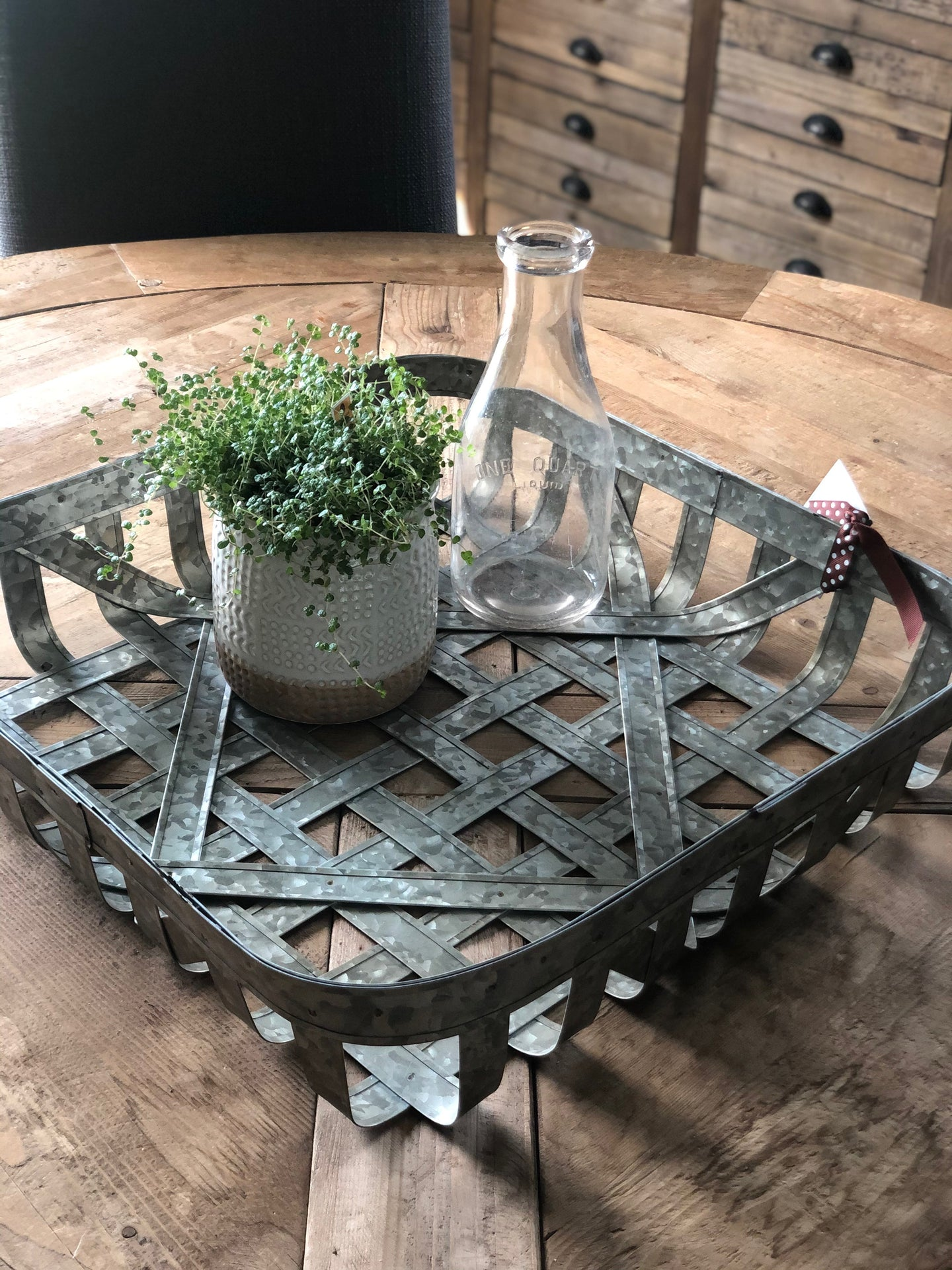 Large Metal Woven Tray
