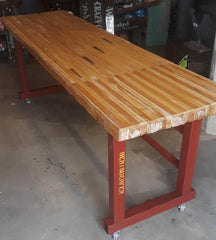 Industrial Table, Metal Base with Bowling Alley Top