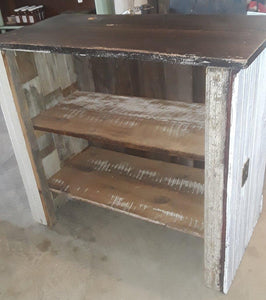 General store counter with bead board front