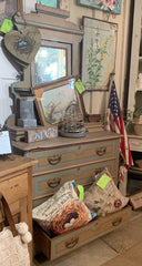 Vintage dresser with matching mirror