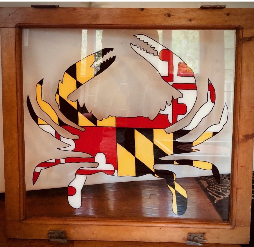 Hand Painted Yellow and Red Maryland Crab on Vintage Window