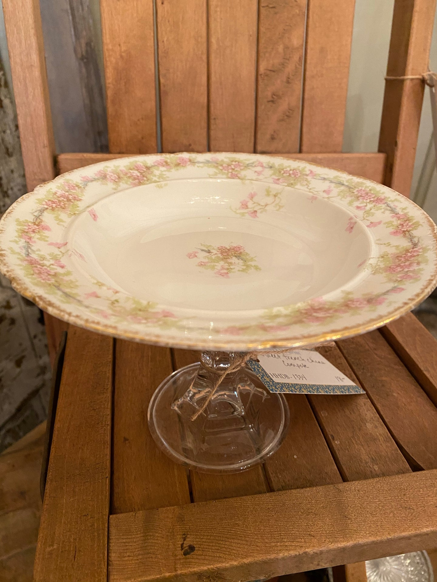Sweet Vintage French China Pedestal Dish