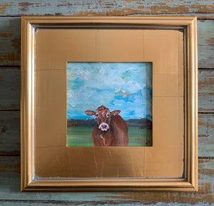 "Original ""Hello Brown Cow"" Plein Air Gold Leaf Frame"