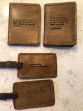 Load image into Gallery viewer, Leather Luggage Tag With Quotes