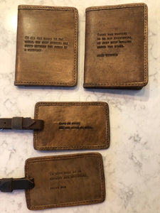 Leather Luggage Tag With Quotes