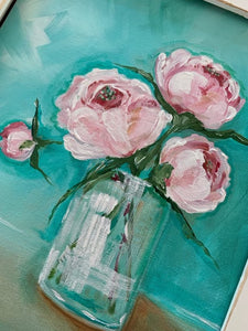 Pink peony in turquoise