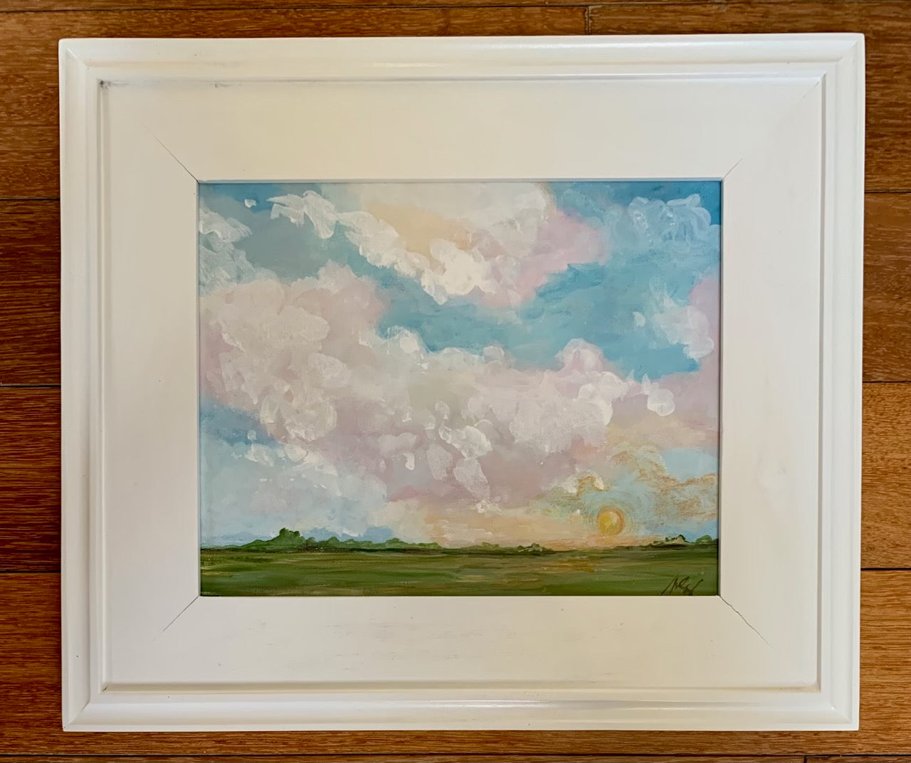 Original Sunset Sky Scape in White Plein Air Frame
